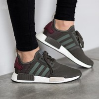 Adidas NMD R1 Boost Women Olive Green Trending Running Sports Shoes Sneakers