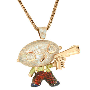 14k Rose Gold Finish baby Cartoon with gun Pendant
