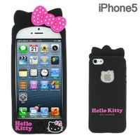 Sanrio Hello Kitty 3D Silicone iPhone 5 Case with Ears (Black)