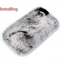 BotexBling DIY Real Rex Rabbit Fur Hair Phone Case for iphone 5 5s se 4 4s ipod touch 5 touch 6 Shiny Rhinestone Plush Furry 5C