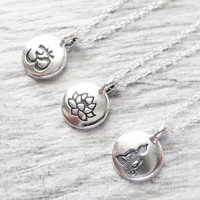 Tiny Silver Charm Necklace, Stamped Tiny Charm Circle Pendant, Om Charm, Lotus Flower, Or Buddha Charms, You Choose One Charm, Gift, Yoga