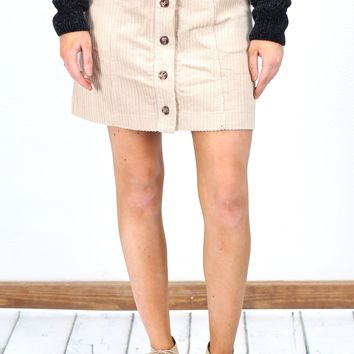 Button It Skirt w/ Pockets {Beige}