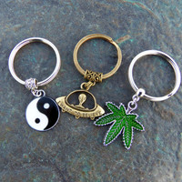 Set of 3 grunge keychains key chain best friends gifts birthday gift gifts for her gifts for him car accessories pot leaf yin yang alien ufo