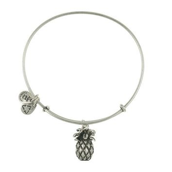 Alex and Ani Pineapple Charm Bangle - Russian Silver