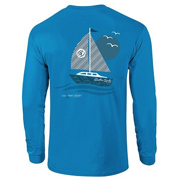 Southern Darlin Sail Boat Sail Away Longsleeve Bright Girlie T-Shirt