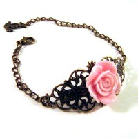 Bronzed Filigree With Light Pink Resin Flower And Bird Charm | Luulla