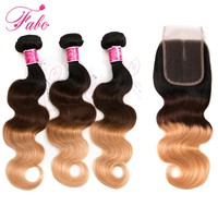 Buy 3 Get 4 FABC Hair Ombre Brazilian Human Hair Weave Body Wave 3 Bundles with Closure Middle Part 1B/4/27 Blonde Non-Remy Hair