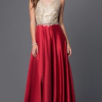 Long Prom Dress with Embroidered Illusion Bodice