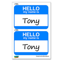 Tony Hello My Name Is - Sheet of 2 Stickers