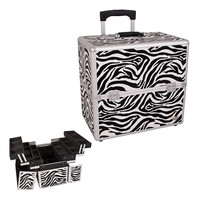 Zebra Textured Professional Rolling Makeup Case Organizer with Dividers 3 Tiers