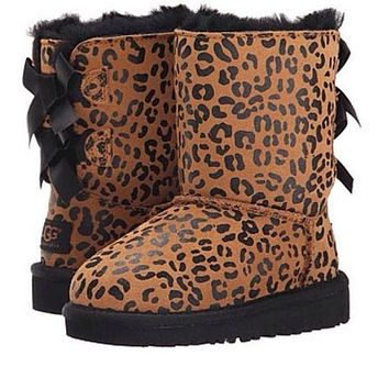 UGG Fashion Winter Women Cute Bowknot Flat Warm Snow Ankle Boots Shoes
