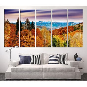 Large Canvas Print Mountain and Autumn Wall Art Canvas Print Sunset on Mountain Large 5 Panel