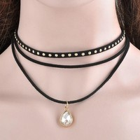 3 Layers Black Ribbon Chocker Necklace Women Fashion Jewelry Bib Necklace Collier