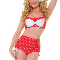 Red & White Polka Dot Shirley Bikini Bottom