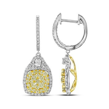 14k White Gold Round Canary Yellow Diamond Dangle Earrings 2-1/2 Cttw
