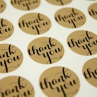 120pcs Round Thank You Craft Paper Sticker Labels for Wedding Favor Tag Toppers