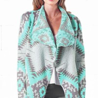 Gone Glamping Mint Grey Tribal Navajo Aztec Southwestern Asymmetric Open Cardigan Sweater