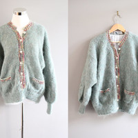Canada pastel green mohair slouchy loose fit oversize hand knitted wool cardigan small medium large