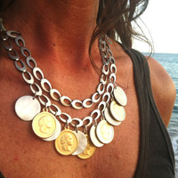 Bib necklace - silver and gold statement necklace - gipsy necklace - hippy chic jewelry - sexy jewelry - fall jewelry - coins charm necklace