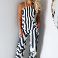All The Stripe Moves Jumper: Dusty Black/Ivory