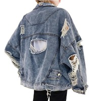 2018 Fall Fashion Ripped Hole Jean Jacket Womens Loose Casual Denim Coat Harajuku Streetwear Long Sleeve Denim Jacket ZURICHOUSE