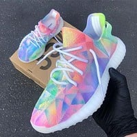 ADIDAS YEEZY 350 V2 Fashion Women Casual Breathable Tie-Dye Color Sport Running Shoes Sneakers