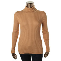 Charter Club Womens Turtleneck Ribbed Pullover Sweater