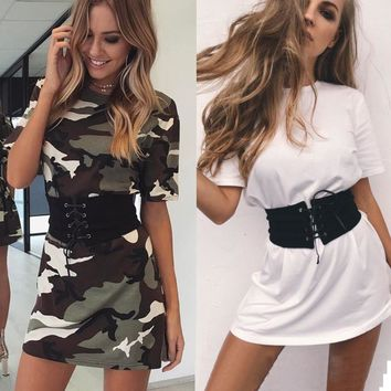 Summer Camouflage Waistband One Piece Dress [10495231629]