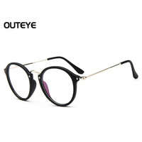 Outeye 2016 Retro Vintage Womens Eyeglasses Hybrid PC Metal Round Frame Eyewear Clear Lens Eye Glasses Optical Eyeglass Glasses