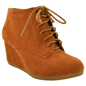 Womens Ankle Boots Lace Up Faux Suede Wedge Shoes Tan