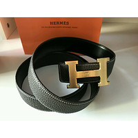 Auth HERMES Reversible double H Gold/Silver Buckle Black Leather Men's Belt 110*