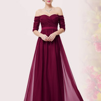 Burgundy Ruched Off Shoulder Maxi Prom Dress
