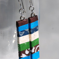 Blue Brown Striped Hanji Paper Earrings OOAK Dangle Earrings Patchwork Design Blue Green White Handmade Hypoallergenic hooks Lightweight