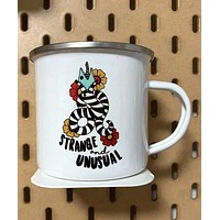 Strange And Unusual Enamel Coated Stainless Steel Camping Mug | Handmade | 12 oz | Printed on Both Sides