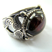 925 Sterling Silver TourmalineRubelitte Ring Size by RumiJewellery
