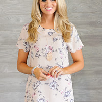 * Sharon Top With Scallop Hem: Blush