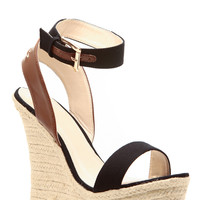 Black Faux Leather Ankle Strap Espadrille Wedges