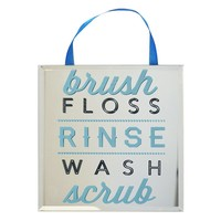 ''Brush Floss Rinse Wash Scrub'' Framed Mirror Wall Art
