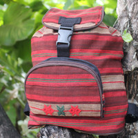 Small Tribal Backpack Ethnic Naga Embroidery Red And Tan