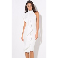 Strut This Way Stretch White Scuba One Shoulder Sleeveless Halter Neck Ruffle Bodycon Midi Dress