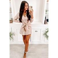 It's A Must Metallic Button Up Dress (Champagne)