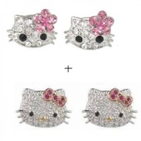 "X-small 1/4"" Pink Flower Hello Kitty Crystal Stud Earrings"