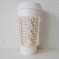 Cotton Cable Stitch Coffee Cozy in Ecru, ready to ship.