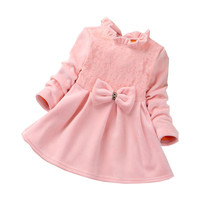 DFXD Baby Girl Party Dress Toddler Clothes Long Sleeve Winter Thick Lovely Baby Bowknot Princess Dress Newborn Dress Vestido1-4T