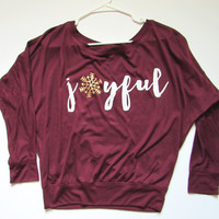 SALE -  JOYFUL - FLOWY LONG SLEEVE SHIRT - Ruffles with Love - Womens Fitness - Workout Clothing - Workout Shirts with Sayings