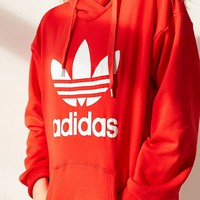 Charmvip | Adidas Women Fashion Hooded Top Pullover Sweater Sweatshirt Hoodie Casual Sports Shorts Red
