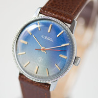 Blue wristwatch for men Rocket round gent's watch minimalist State Quality Mark of the USSR premium leather strap new