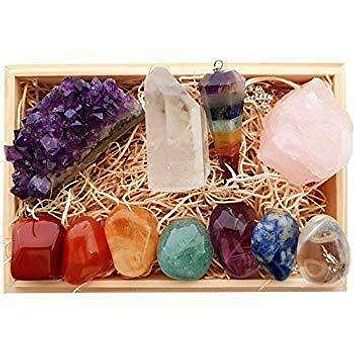 Premium Healing Crystals Gift Kit in Wooden Box with E-Book and Poster