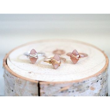 Peach Moonstone Marquis Caged Ring