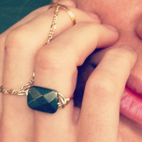 PYRITE stone and gold plated wire wrapped ring by miskwill on Etsy